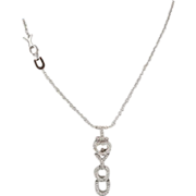 Estate 18K White Gold Diamond I LOVE YOU Necklace