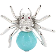 SOLD Estate 14k White Gold Turquoise Diamond Ruby Spider Brooch