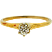 SOLD Vintage 14k Two tone Gold Old Mine Cut Diamond Solitaire Engagement Ring