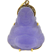Estate 14k Two Tone Gold Lavender Jade Diamond Buddha Pendant