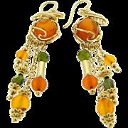 Estate Handmade 14 Karat Yellow Gold Amber Peridot Dangle Earrings