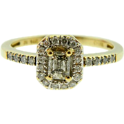 Estate 14k Yellow Gold Emerald Cut Champagne Diamond Engagement Ring