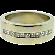 Estate 14k White Gold Princess Diamond Wedding Band Man's Pinkie Ring