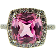 Estate 14k White Gold Synthetic Pink Sapphire Topaz Diamond Cocktail Ring