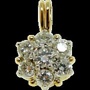 Vintage 14k Two Tone Gold Diamond Cluster Flower Snowflake Pendant