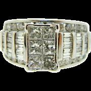Estate 14k White Gold Multi Diamond Engagement Ring 2.50 Ctw