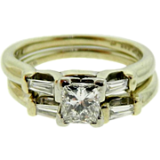 Estate 14K White Gold Princess Cut Diamond Engagement Wedding Ring Set