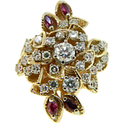 Massive Vintage 14k Two Tone Gold Diamond Ruby Cocktail Ring