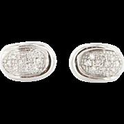 Estate 14K White Gold Pave Diamond Post Earrings
