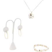 Estate 14k Yellow Gold Mother Of Pearl Elephant Pendant Bracelet & Earring Set