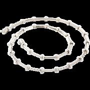 Estate 18K White Gold Diamond Station Necklace 17 1/2 Inches