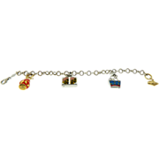 Designer B 14K Two Tone Gold Enamel Charm Bracelet Estate