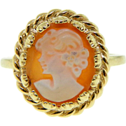 Vintage 14K Yellow Gold Carved Shell Cameo Ring