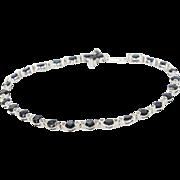 Vintage 14K White Gold Blue Sapphire Diamond Bracelet