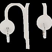 Estate 18K White Gold Diamond Oval Huggie Hoop Earrings
