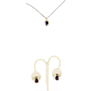 Estate 14K Two Tone Gold Amethyst Diamond Pendant Earring Set