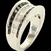 Estate 14K White Gold Black White Diamond Wedding Cocktail Ring Band
