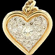 Vintage 14K Two Tone Gold Diamond Heart Pendant