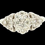 Vintage 18K White Gold Diamond Cluster Cocktail Ring