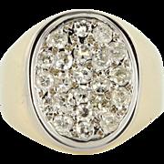 Vintage 14K Two Tone Gold Diamond Men's Oval Dress Ring