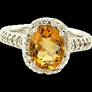 Estate 14K White Gold Citrine Diamond Halo Engagement Cocktail Ring