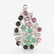 Estate Sterling Silver Emerald Ruby Sapphire Pendant Fine Jewelry