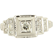 Vintage 18K White Gold Diamond Engagement Ring