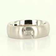 Estate 18 Karat White Gold Baguette Cut Diamond Wedding Ring Band