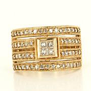 Estate 14 Karat Yellow Gold Princess Round Diamond Cocktail Ring Wedding Band