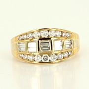 Estate 14 Karat Gold Round Baguette Diamond Cocktail Ring Or Wedding Band