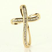 Estate Yellow Gold Diamond Cross Pendant