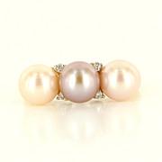 Estate 14 Karat Yellow Gold 3 Pearl Diamond Ring