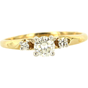 Estate 14k Two Tone Gold Diamond Engagement Ring