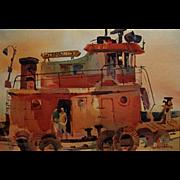 Robert E. Wood  Tug Boat at Dock   14x20 image size