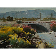 BillBender  Bridge near Quartzsite   12x16 oil on canvas panel