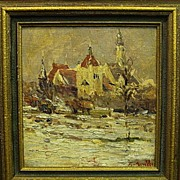 Armand Monaco-German Building-Chicago International Exhibit-13x11 oil