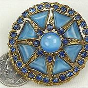 Vintage Czechoslovakia Blue Moonglow Brooch