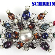 Schreiner Jewel Tone Glass Cabochons, RS & Faux Pearls Large Fan Brooch