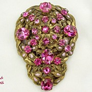 Czechoslovakian Enamel & Rhinestone Dress Clip in Pink