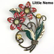 Little Nemo Enamel & RS Brooch Double Red Flowers
