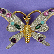 Brilliant Stylized Figural Butterfly Brooch Purple, Pink, Green & White RS