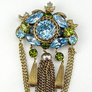 Blue & Green Rhinestone Brooch/Pendant with Chains