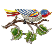 Early Coro Enamel and Rhinestone Bird on Branch Brooch