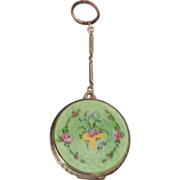 Green Floral Compact with Finger Ring 1920's.