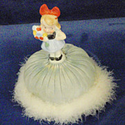 Vintage Swansdown Puff with German Porcelain Little Girl with Flowers