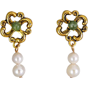 14K Yellow Gold Green Jade & Floral Pearl Drop Pierced Earrings w/Box~Exc. Cond.