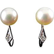 14K White Gold, Round Pearl & Diamond Accent Earrings – Screw Back