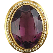 SALE Victorian Style Amethyst Purple Crystal Oval Jewel in Faux Pearl Frame Brooch Pin