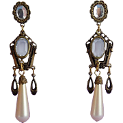 SALE Banana Bob Victorian Style Crystal and Faux Pearl Drop Earrings - Pierced