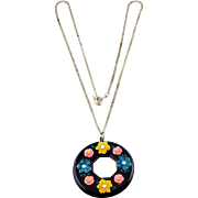 SALE 1930's Black Celluloid Disk Circle Pendant Necklace- Applied Colorful Flowers and ...